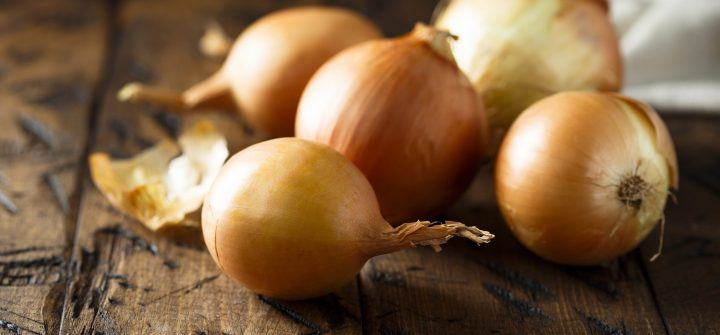 Raw onion on the table